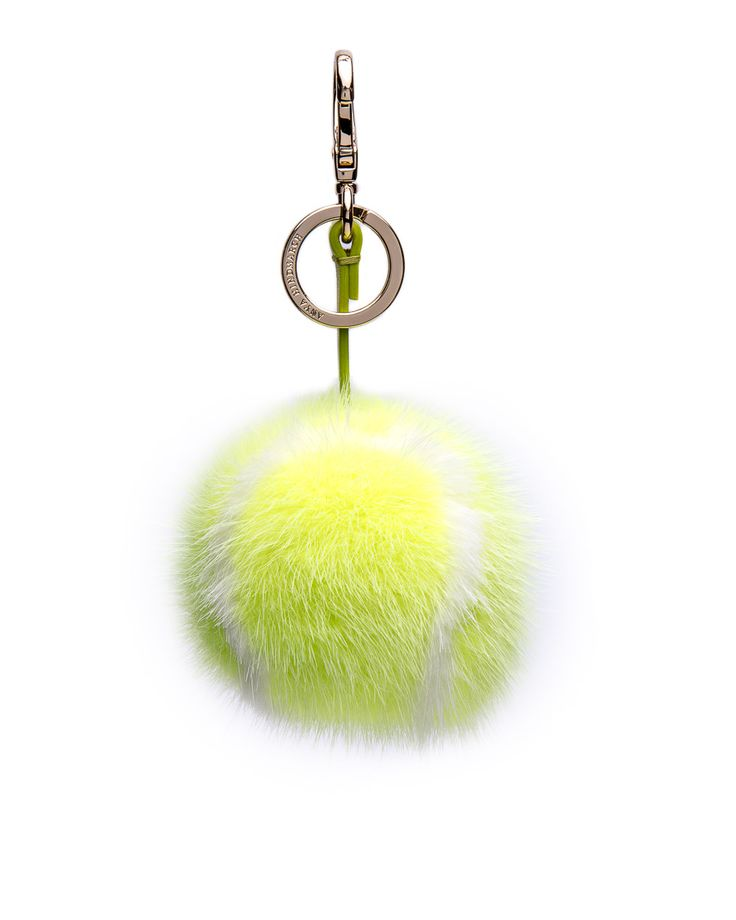 Anya Hindmarch Yellow Mink Tennis Ball Charm