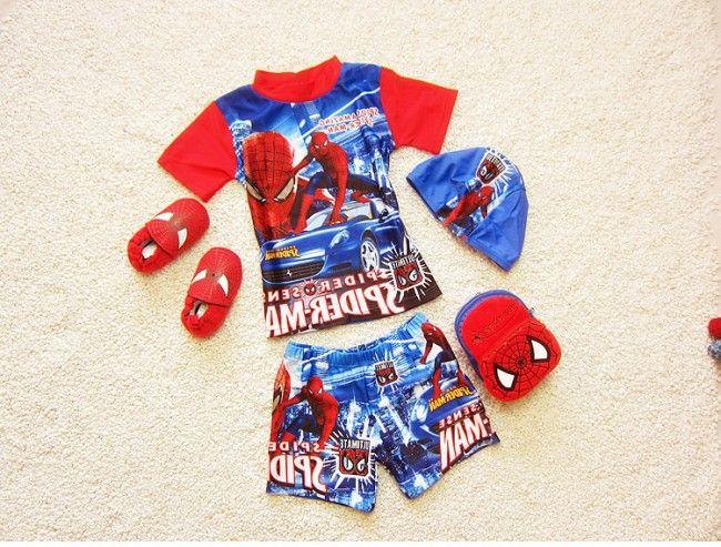 EMS/DHL Free shipping 2016 New Korea New Boy Children Sp**er Man Swimming Suit + Cap Boy Swimwear
