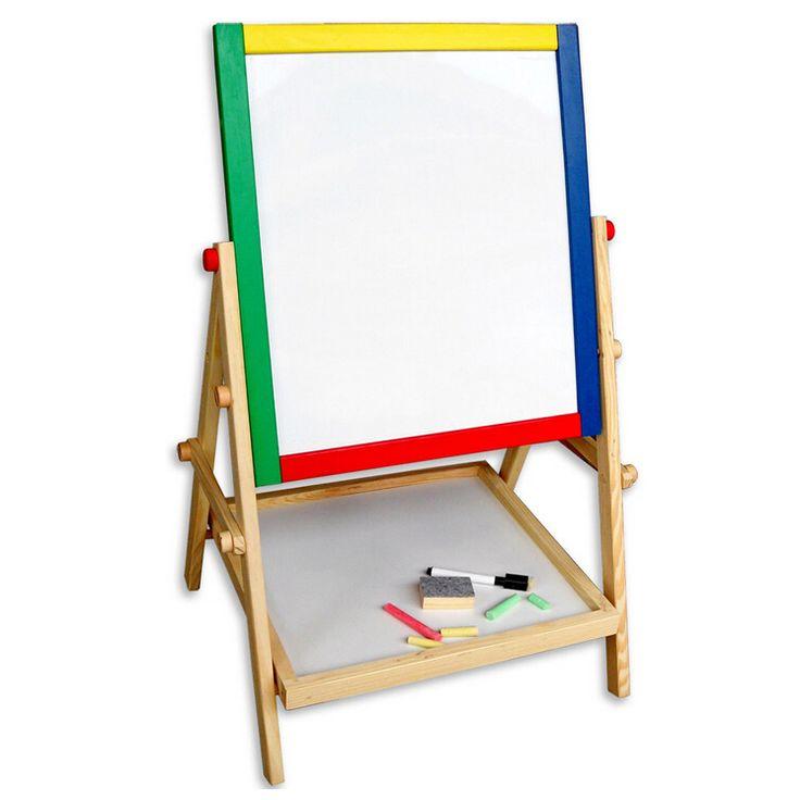 Práctico Niños De Madera de Doble Cara Tablero de Dibujo de Caballete Pizarra Tablero de Tiza, mejor para habitaciones de niños