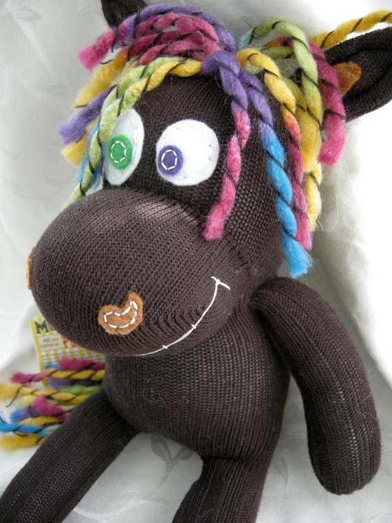 Farley  OOAK Chocolate Brown Sock Horse with by Munkybuns Sock Toys