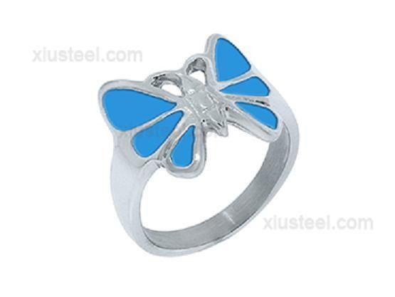 Stainless Steel Ladies Rings with Blue Butterfly - Model X15R1022-04 #FenixSteel #Friendship