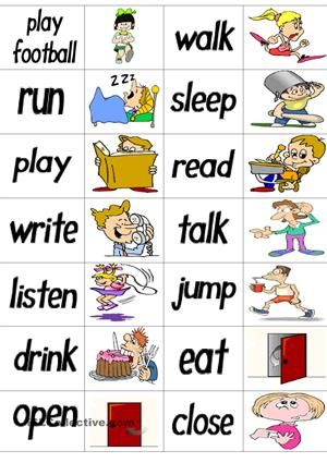 34 verbs dominoes cards. Ss connect the words to the correct pictures. They lay out on a table in a continuous chain which can end in a complete circle. (play football, walk, run, sleep, play, read, write, talk, listen, jump, drink, eat, open, close, count, go, come, watch TV, play TV games, speak, sing, dance, ride, laugh, cry, swim, study, fight, clean, catch, throw, draw, wait, climb) - ESL worksheets