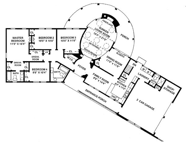 First floor plan of ranch house plan 1 800 sq ft make for Passive solar ranch house plans