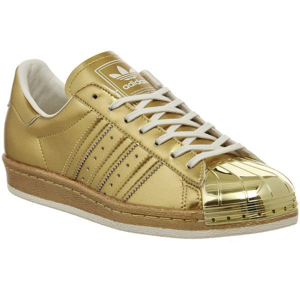 Adidas Superstar 80s ($105) ❤ liked on Polyvore featuring shoes, sneakers, adidas, metallic pack gold, trainers, unisex sports, sports trainer, gold sneakers, metallic sneakers and sports shoes