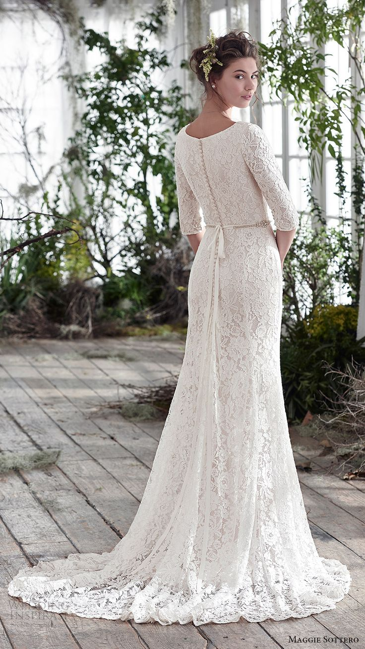 maggie sottero bridal fall 2016 half sleeves scoop neck lace trumpet wedding dress (fairchild) bv train