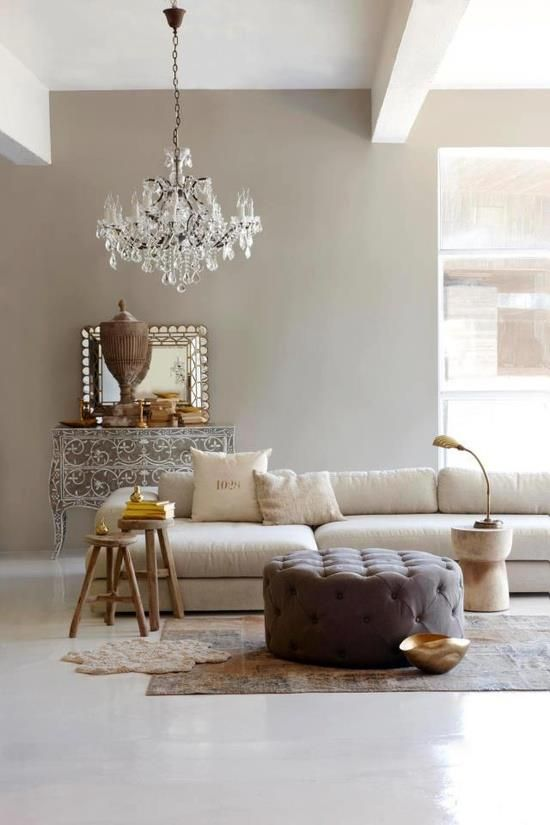 Chandelier, creamy taupe walls and creamy neutral tones for a fabulous living room
