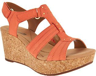 Clarks As Is Leather Triple Adjust Wedge Sandals - Annadel Orchid
