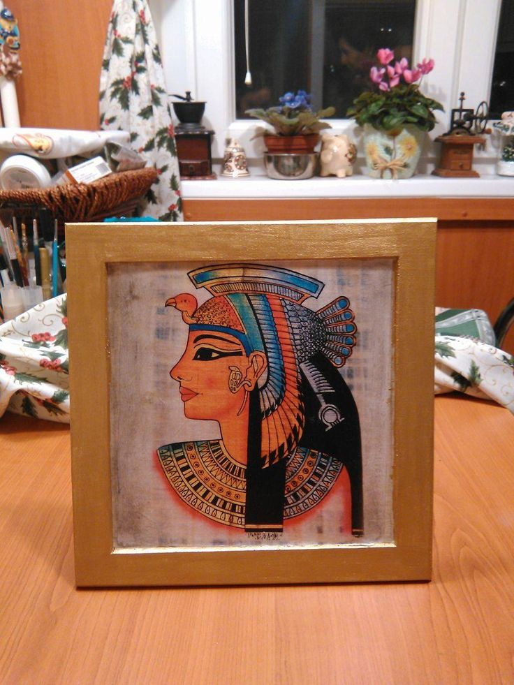 Egyptian style decoupage picture 23*23 cm, golden frame by DoriansSanctuary on Etsy