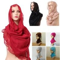 Wish | Women Muslim Hijab Voile Islamic Headwear Arab Scarf Lace Headscarf