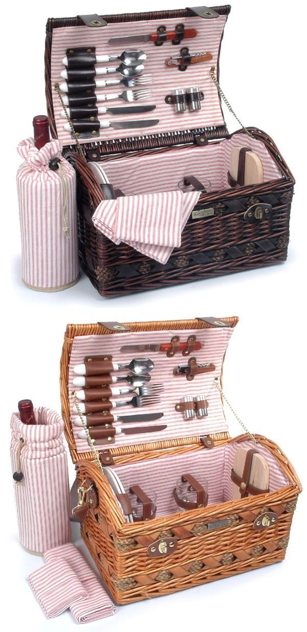 Picnic Baskets and Backpacks 38249: Wicker Picnic Basket Set For 2 The Couture Collection 20 Pcs. W Wine Bag -> BUY IT NOW ONLY: $92 on eBay!