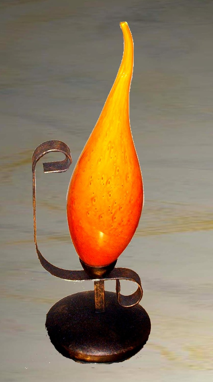 Flame Series. Wrought Iron with Blown Flame Glass.