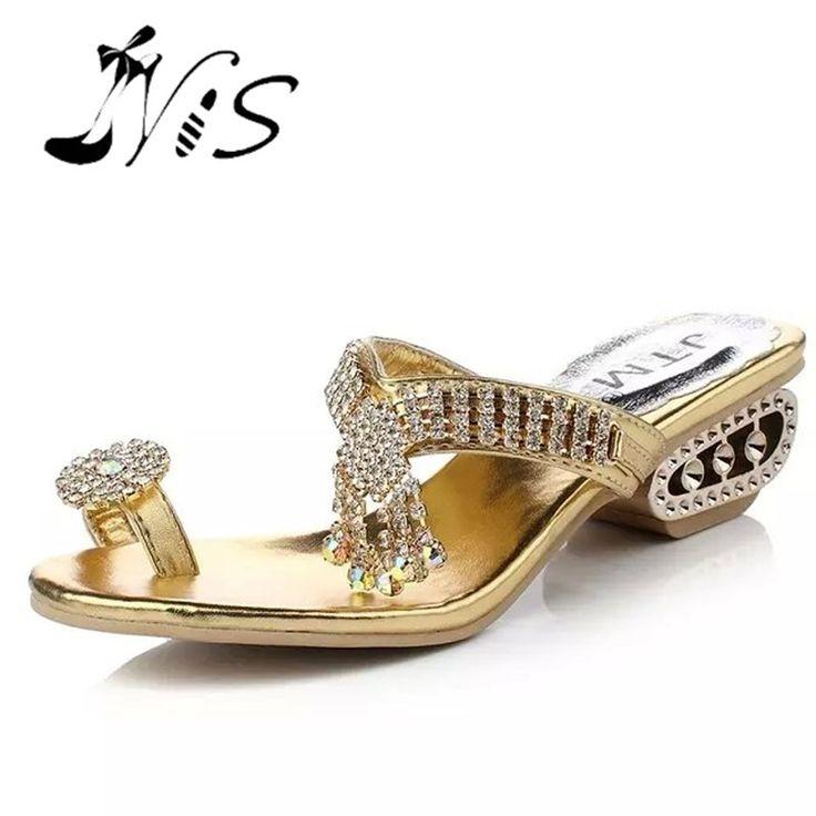 NIS Women Sexy Mules Gold/Silver Rhinestone Fringe Wedding Wedges Sandals Strange Wedge Heels Femme Mule Slides Beach Flip Flops