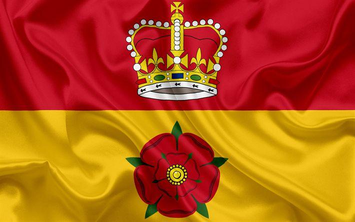 Scarica sfondi Contea di Hampshire Bandiera, Inghilterra, bandiere delle contee inglesi, Bandiera dell'Hampshire, Contea Inglesi, Bandiere, bandiera di seta, Hampshire