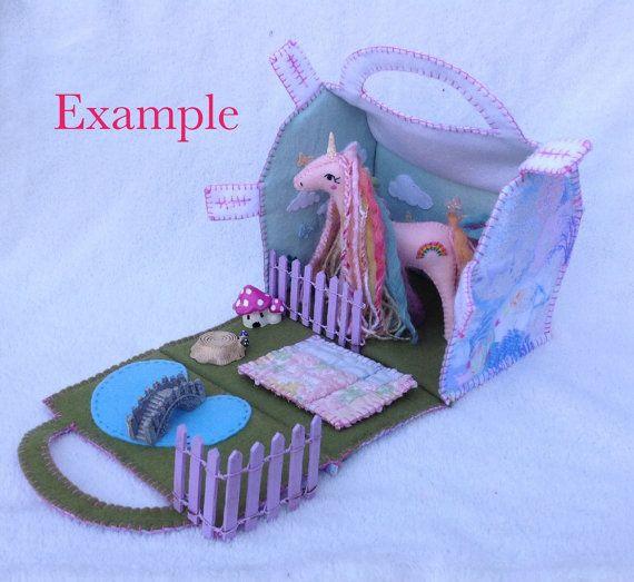 Personalised Unicorn Garden Play Set Felt by UnicornGardenDolls