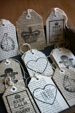 Gift tags made from old book pages.