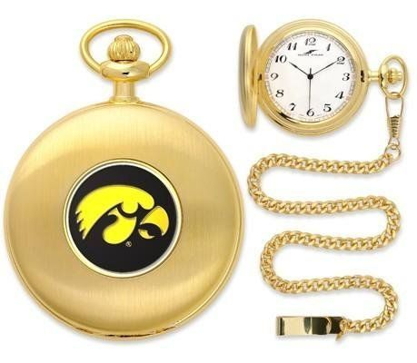 "Iowa Hawkeyes Pocket Watch by SunTime. $49.95. Officially Licensed Iowa Hawkeyes Pocket Watch. Japanese Quartz-Accurate Movement. 12"" Chain. Metal Cover. Unisex Adults. Iowa Hawkeyes Pocket Watch. The classically styled Pocket Watch is thoughtfully crafted and is a superior quality timepiece. The Hawkeyes pocket watch comes with a matching 12"" chain. The watch features a quartz-accurate Japanese movement to display time on our traditionally styled watch face that includes both 12..."