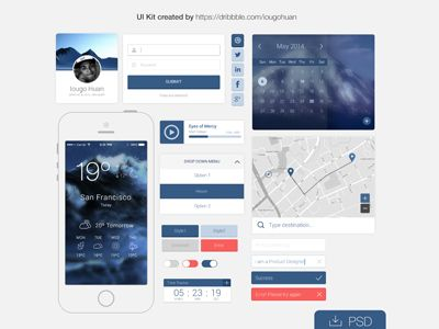 Free PSD: Mountain Flat UI kit