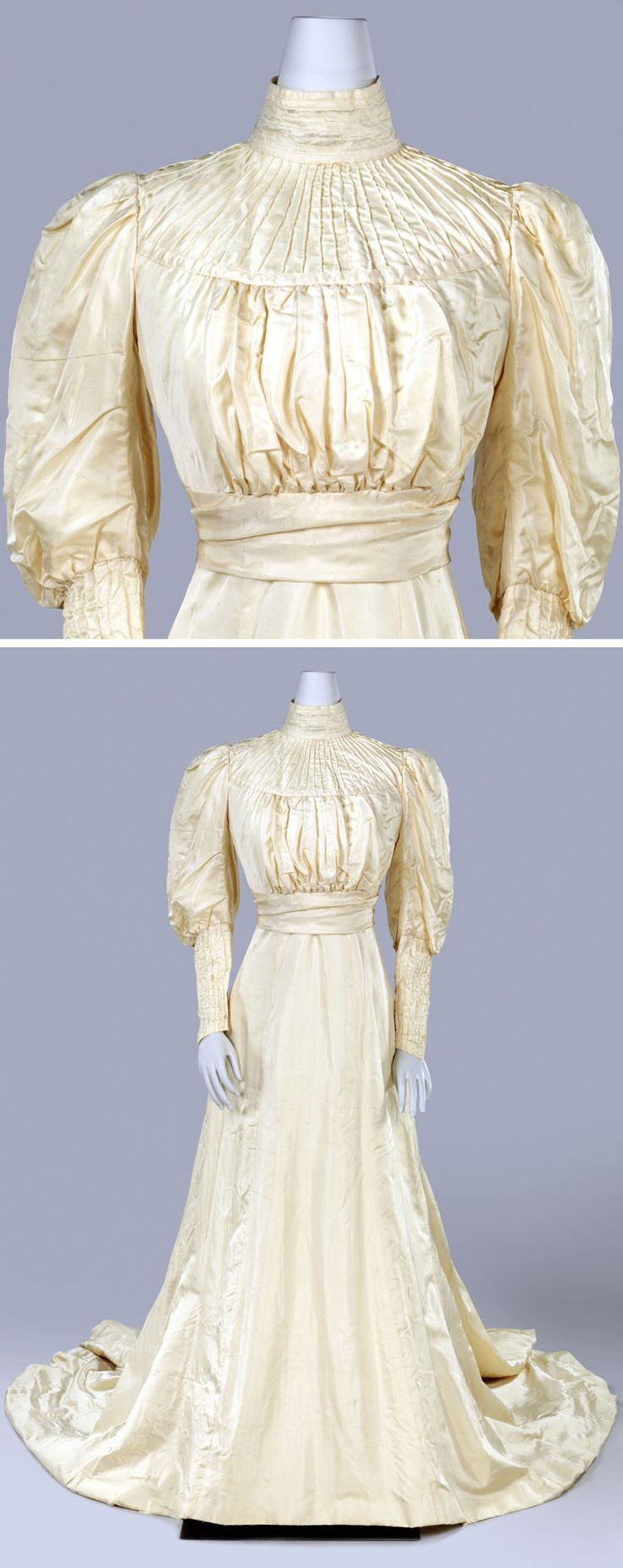 Wedding dress, M.A. van Asch, Amsterdam, 1908. Cream silk ottoman, two pieces. Dress is incomplete. It was originally worn with wide, ruffled lace flounce covering upper bodice from shoulder to shoulder. Lace-trimmed linen tank under bodice. Skirt lined with linen, with lace-trimmed ruffle at hem. Back hook & eye closure. Rijksmuseum