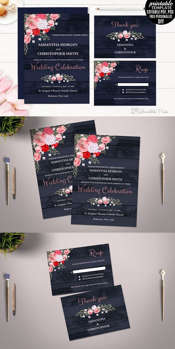 tulip wedding invitation templates%0A Floral Wedding Invitation Template  printable  printready