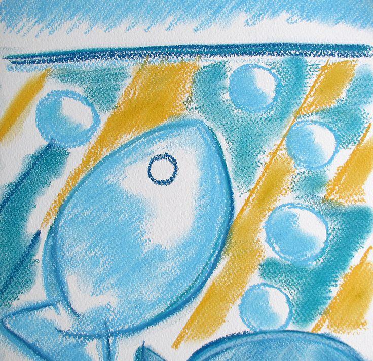 Fish #art #pastels #drawings #fish #summer #swim #finland #abstract #water