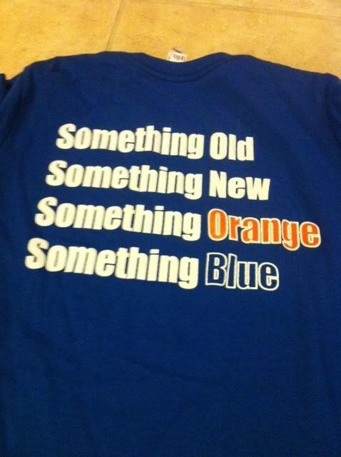 ;-): Auburn Tigers Football, Florida Gators, Blue And Orange Wedding, Auburn Wedding Ideas, Denver Broncos, Blue Orange Wedding, Something Blue, T Shirts, Blue Wedding Orange