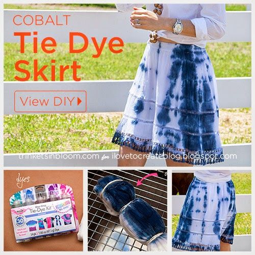 Easy #DIY Cobalt and White Tie Dyed Skirt from @ILoveto Create