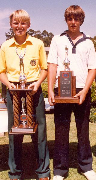 Ernie Els & Phil Mickelson, 1984, Junior World Golf Championship, Els won with Mickelson finishing 2nd.. https://en.wikipedia.org/wiki/Junior_World_Golf_Championships