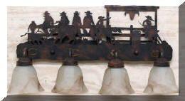 western style light fixtures | Western cowboy bathroom vanity light bar fixture western decor