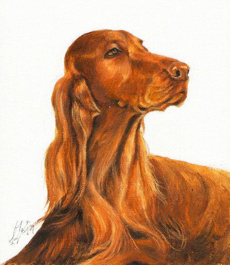 Originele hond olie portret schilderen van Ierse door ninistores