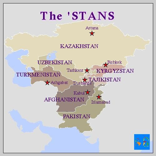 """mapsrfun: Here are the 7 countries that end in 'stan. Stan is Persian for """"place of"""" according to Wikipedia."""