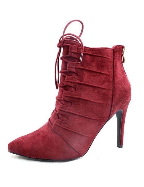 Chaussures à talon haut bout pointu bottes courtes Rouge Lace bottillons haut talon Suede féminin