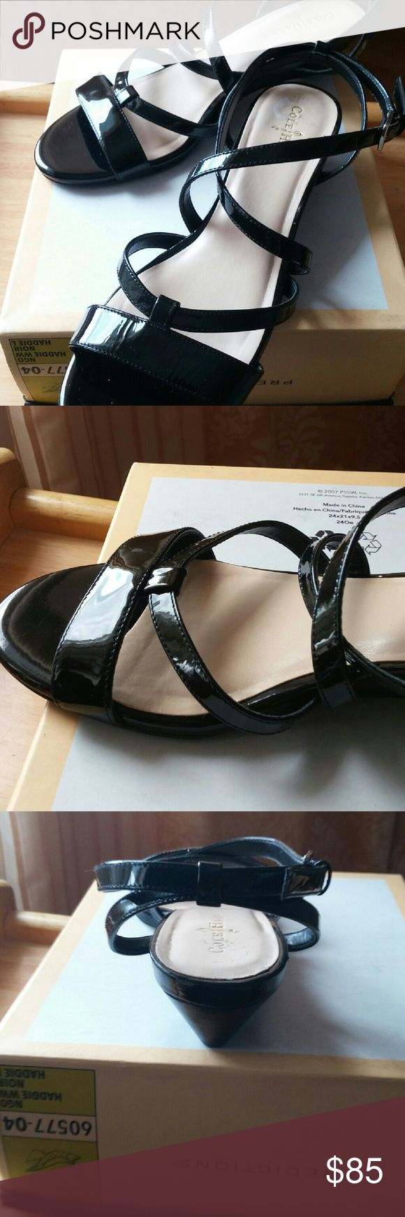 "Cole Haan black leather wedge sandal BRAND New,never be worn,  all over genuine black  leather . 1.5""  covered wedge Amazing!!! High quality , like all shoes from Cole Haan. Cole Haan Shoes Sandals"