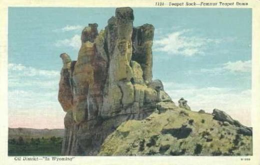 "Picture:  Teapot Rock in the 1920s, before the ""spout"" broke off the formation that gave its name to Teapot Dome. Wyoming Tales and Trails. At WyoHistory.org http://www.wyohistory.org/encyclopedia/teapot-dome-scandal"