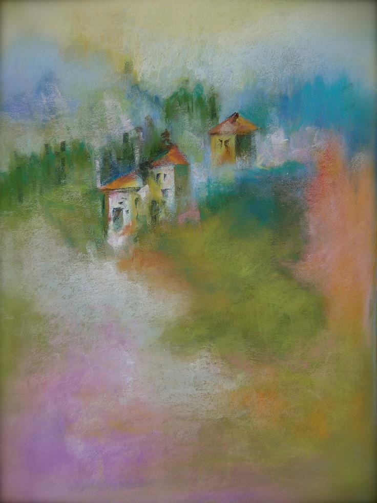 pastel painting tuscany italy