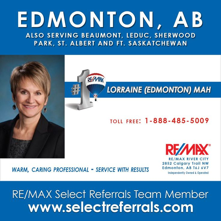 Congratulations to our RE/MAX SELECT REFERRALS Team Member - Lorraine Edmonton Mah for making the RE/MAX Top 100 - #selectreferrals #remax Lorraine welcomes your referrals to Edmonton, AB - Contact her direct at 1-888-485-5009 or via our website at www.selectreferrals.com