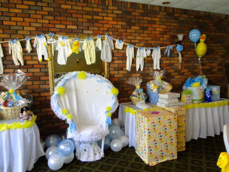Rubber ducky baby shower for boy yellow and blue colors rubber rubber ducky baby shower for boy yellow and blue colors rubber ducky decor created by cathy sattler baby boy clothes line gift table decor negle Gallery