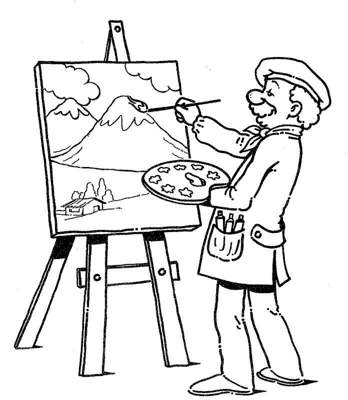 Pinto Dibujos: profesión de pintor para colorear