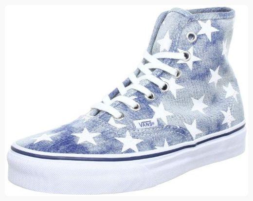 Vans Unisex Authentic Hi Washed Denim Sneaker - Blue Stars (*Partner Link)
