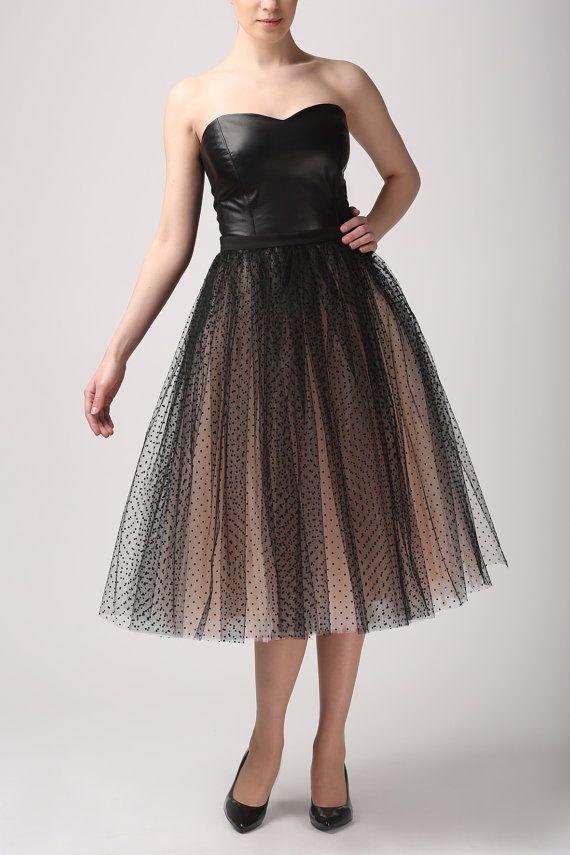 Champagne with dots tulle skirt, Handmade long skirt, Handmade tutu skirt, High quality skirt, Tea length petticoat, Tea length skirt