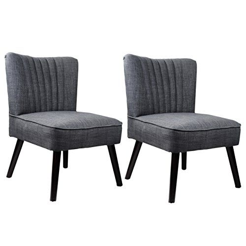 CorLiving LAD 160 C Antonio Accent Chair In Woven Grey Set Of 2