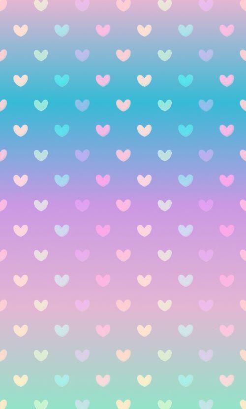 Gradient pastel heart wallpaper: