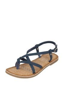 Sandalias de piel<BR> Azul marino