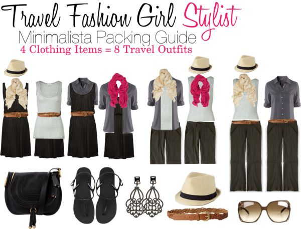 Pack a Week's Worth of Travel Outfits with 4 Clothing Items! Check out the Travel Fashion Girl Style-Mix!