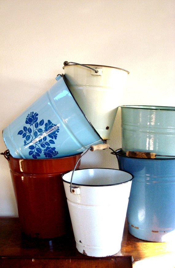 Vintage French  Enamel Buckets in Blues Yellow or by ChaseVintage