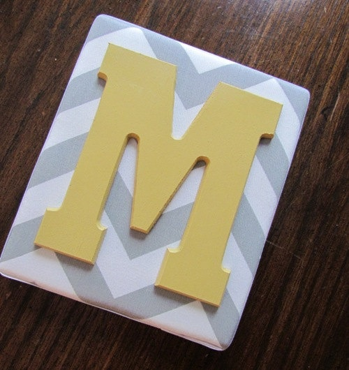 Framed Monogram, 6x7, Yellow and Gray, Gray Chevron Letters, Wall Letters, Monogram, Painted Letters, Personalized Nursery Decor. $14.99, via Etsy.