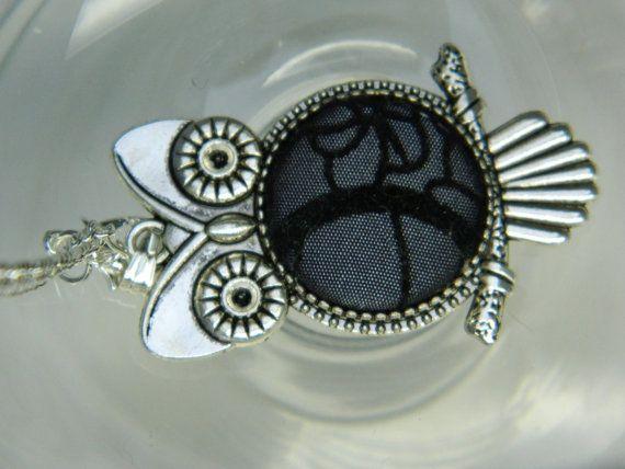 Fabric Covered Button Owl Pendant Girlfriend by LittleRubyAtom