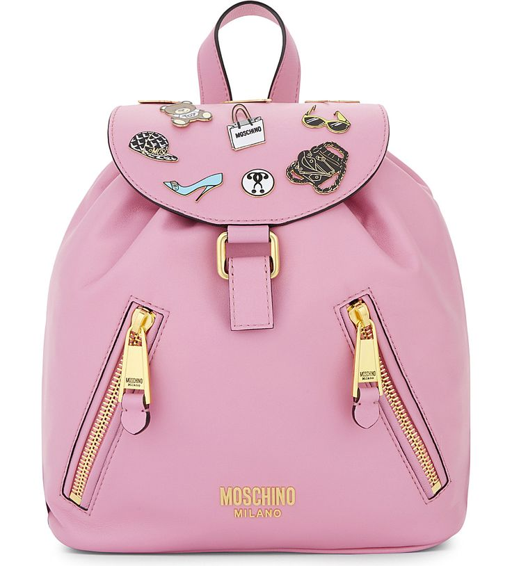 MOSCHINO - Badges leather backpack | Selfridges.com