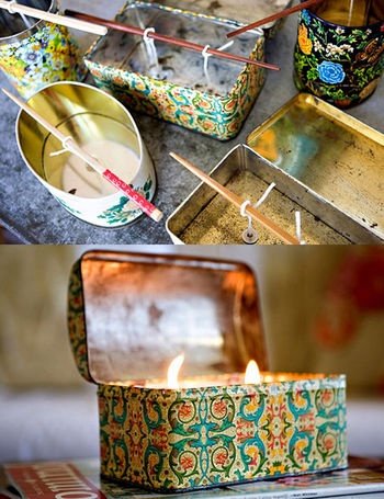 we all get lovely tin containers during the holiday season...why not reuse them to make decorative candles?