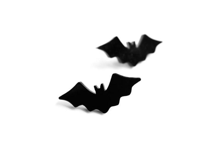Black Bat stud earrings