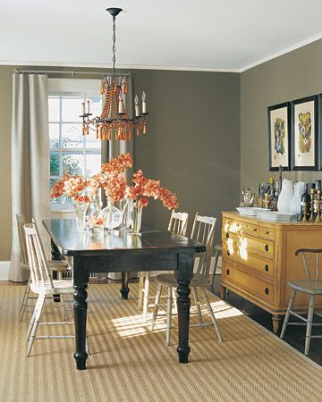 Brown Gray  In this dining room, the homeowner chose a dark stain for the table to set off painted chairs, as an antique sideboard stands out against the gray walls: Dining Rooms, White Chairs, Decor Ideas, Color Combos, Color Schemes, Colors, Wall Color, Paintings Color, Gray Wall